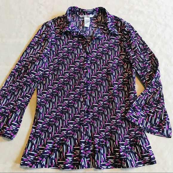 Fred David Tops - Fred Davis Long Sleeve Button Down Blouse